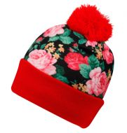 FLORAL BEANIE HATS WITH POM POM BN2136