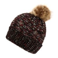 MULTI COLOR THICK CABLE KNIT BEANIE W/POM POM & SHERPA FLEECE BN2375