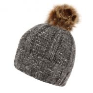 TWO TONE CABLE KNIT BEANIE WITH POM POM & SHERPA LINING BN2376