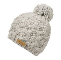 WOOL BLEND CABLE KNIT POMPOM BEANIE W/SHERPA LINING BN4051