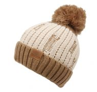 TWO TONE COLOR CABLE KNIT BEANIE W/POM POM BN4067