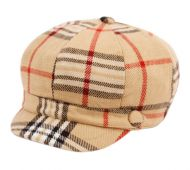 PLAID CABBIE HATS W/SATIN LINING CB011-1 KHAKI