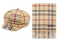 PLAID CABBIE HAT AND SCARF SET CB011-1SET-KHAKI