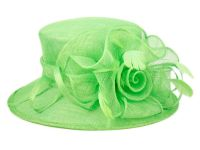 SINAMAY FASCINATOR WITH FLOWER TRIM CC2239