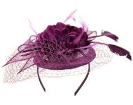 SINAMAY FASCINATOR WITH FLOWER & FEATHER TRIM CC2898