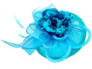 SINAMAY FASCINATOR WITH FLOWER & FEATHER TRIM CC2899