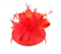 SINAMAY FASCINATOR WITH RIBBON FLOWER & FEATHER TRIM CC4032