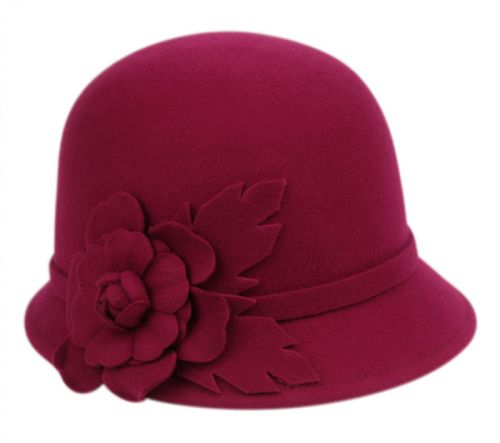 LADIES WOOL FELT CLOCHE WITH FLOWER TRIM AND BAND CL1638