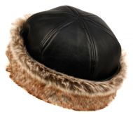 WINTER FAUX LEATHER WITH FUR CUFF HATS CL2191