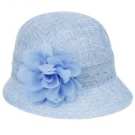 LINEN CLOCHE HATS WITH LACE BAND AND FLOWER CL2265