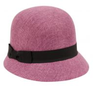 LINEN/COTTON CLOCHE HATS WITH BLACK BAND CL2696
