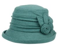 LADIES CLOCHE HATS W/SIDE FLOWER & ROLL OVER BRIM CL5029
