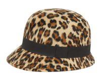 LADIES LEOPARD POLY FELT CLOCHE HATS W/GROSGRAIN BAND CL5030