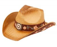 FASHION COWBOY HATS WITH FLORAL TRIM BAND COW4037