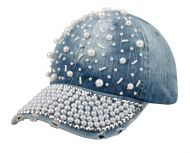 DENIM BASEBALL CAP WITH PEARL CP1885