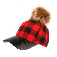 SIX PANEL PLAID WOOL BLEND CAP WITH POM POM & PU VISOR CP2367