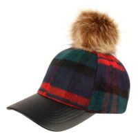 SIX PANEL PLAID WOOL BLEND CAP WITH POM POM & PU VISOR CP2368