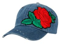 WASHED COTTON BASEBALL CAP WITH ROSE FLOWER PATCH CP2757