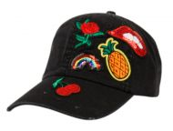 WASHED COTTON BASEBALL CAP WITH MULTI PATCH CP2758