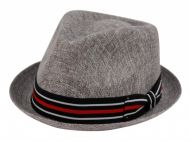 SMALL BRIM LINEN/COTTON FEDORA HATS WITH BAND F2261