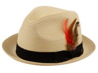 POLY BRAID FEDORA HATS WITH BAND & FEATHER F2680