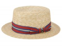 STRIPED BAND STRAW BOATER HATS F2681