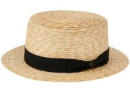 CLASSIC STRAW BOATER HATS WITH BLACK BAND F2723