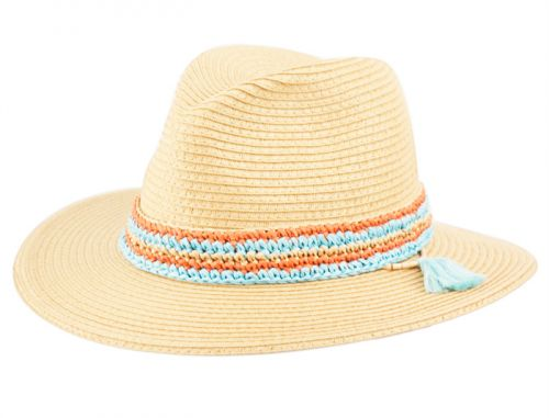 PAPER STRAW BRAID PANAMA HATS WITH TWO TONE COLOR BAND F2801
