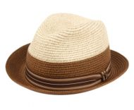 RICHMAN BROTHERS TWO TONE POLYBRAID FEDORA HATS WITH GROSGRAIN BAND F4007