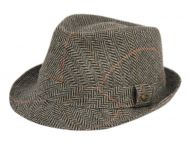 PLAID FEDORA WITH SELF FABRIC BAND F4056