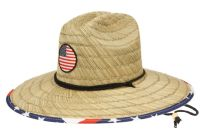 WIDE BRIM STRAW FEDORA HATS WITH USA FLAG BADGE & PRINTS F4116