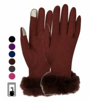 LADIES JERSEY TOUCH SCREEN GLOVE WITH FUR CUFF GL2026