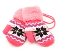 WINTER KNIT KIDS MITTENS W/SHERPA LINING & STRING GL3015