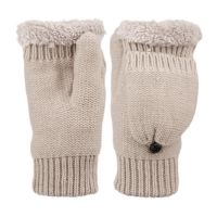 FINGERLESS KNIT MITTENS WITH COVER & SHERPA LINING GL3057