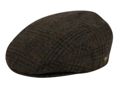 PLAID WOOL FLAT IVY CAPS W/SATIN QUILTED LINING IV2363