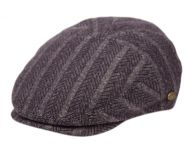HERRINGBONE WOOL STRIPE IVY CAPS W/SATIN QUILTED LINING IV3046