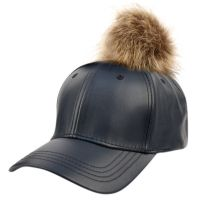 FAUX LEATHER SIX PANEL CAPS W/POMPOM POMPOM1950