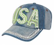 Fashion Crystal USA Cap RH102