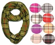 PLAID NECK WARMER LOOP INFINITY SCARVES SC1799 A