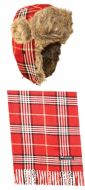 PLAID TROOPER HATS AND SCARF SET TP476S